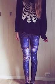 Galaxy leggings and skeleton sweatshirt.