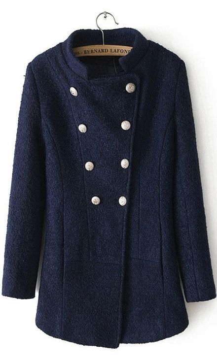Long sleeved double breasted wool coat blue,,so nice