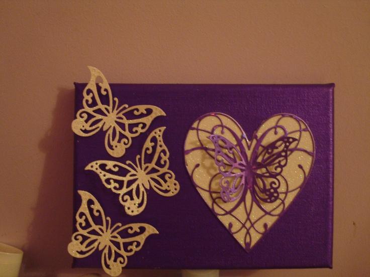Gorgeous metallic purple, Hearts & Butterflies Canvas x