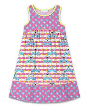 e5ab162c1596 This Pink   Blue Stars   Stripes Flamingos   Floral Babydoll Dress -  Toddler   Girls is perfect!  zulilyfinds