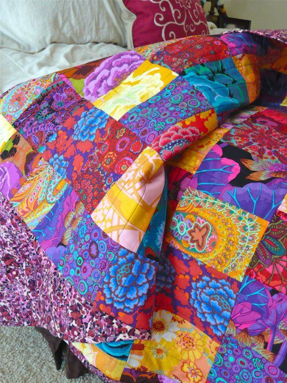 Pomp & Patchwork Quilt  Colorful Bohemian by TheSpottedLamb, $95.00