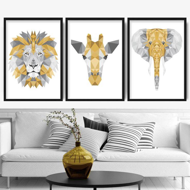 Geometric set of 3 yellow grey art prints jungle heads