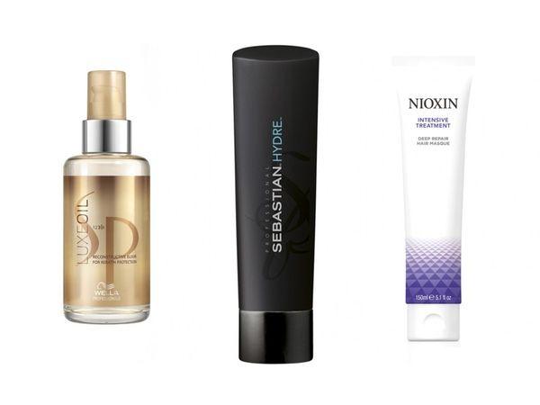 image: Wella SP Luxe Oil, £18.99; Sebastian Professional Hydre Shampoo, £10.95; Nioxin Deep Repair Hair Masque, £14.45