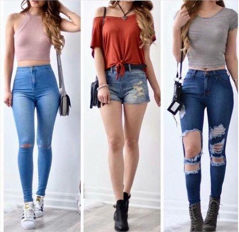 Ropa flaca de jean teen por