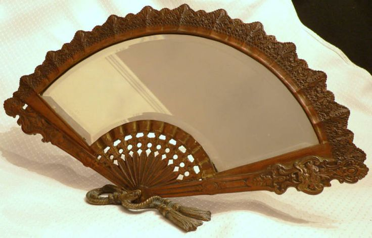 "~ 19th c. Victorian Dresser-top Mirror, Hand Fan Motif,18"" ~ ebay.com"