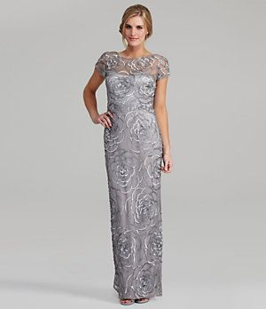 At Dillards MOTHER OF THE BRIDE DRESS    Aidan Mattox Floral-Sequin Gown