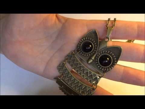 $1.83 Vintage Ancient Bronze Big Eye Owl Pendant Copper Brass Necklace - BornPrettyStore.com