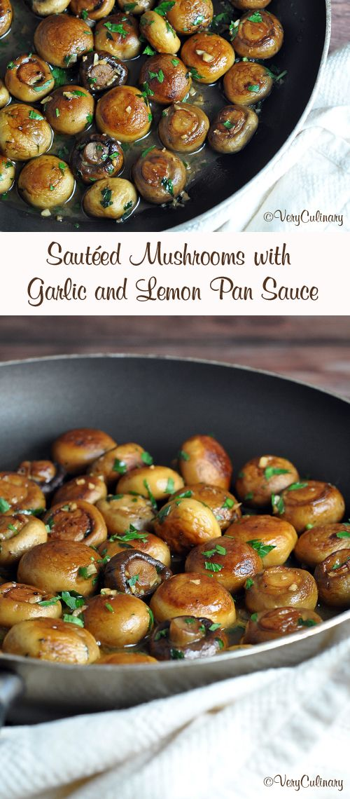 Two kinds of mushrooms are sautéed in butter, olive oil, garlic, and lemon, which create a fantastic pan sauce! Vegetarian, gluten-free, and delicious!