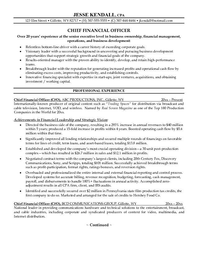 example chief financial officer resume free sample cfo finance - television producer resume