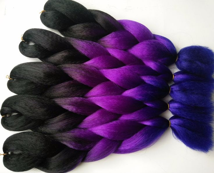 Free shipping ombre braiding 3 toned colour Kanekalon jumbo braiding 5 pieces/lot synthetic braiding hair Black+Purple+Blue – Hair Extensions