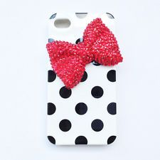 Girl's Lovely Cute Black Polka Dots With Red Bow-Knot Case Cover For Iphone4 4S