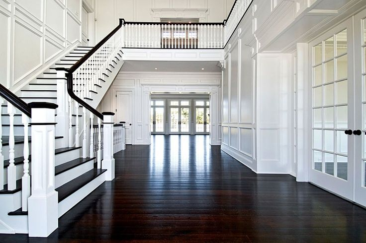 Dream Homes, Dark Wood Floors, Dream House, Stairs Moldings, Contrasting Staircase, Hamptons Staircase