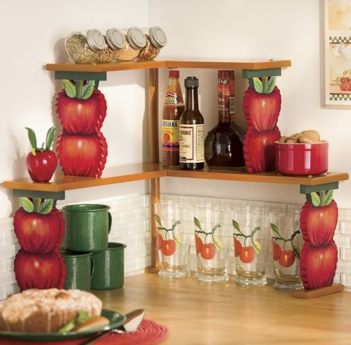 apple double corner shelves my red country apple themed kitchen pinterest corner shelf. Black Bedroom Furniture Sets. Home Design Ideas
