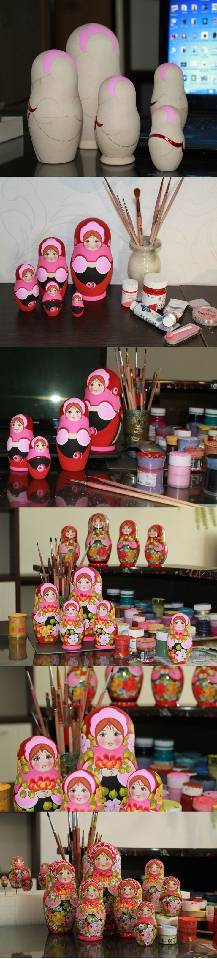 Creative process of matryoshka doll by artist Nadezhda Tihonovich, for more lovely nesting dolls visit: www.bestrussiandolls.etsy.com