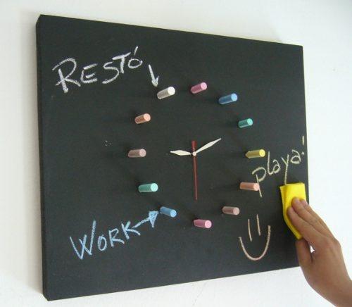 Reloj De Pared Listo Para Usar Reloj Pizarrón Agenda Diseño