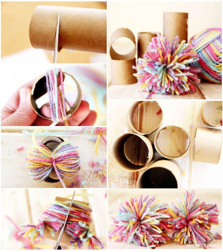 Stop making pom poms like your Grandma, crochet, knit, diy, recycle, tutorial, #haken, #breien, knutselen, kinderen, basisschool, pompoen maken op de makkelijke manier, wc-rol, deksel, textiel, garen