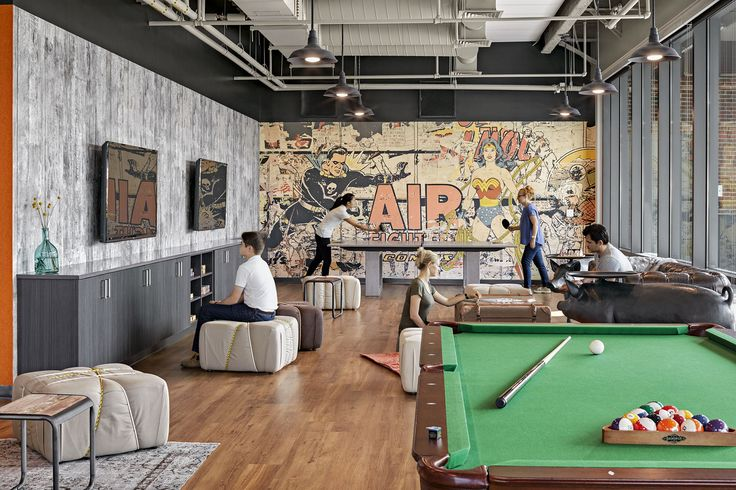 Game Room in the TripAdvisor HQ Offices - pool table, TVs, Ping Pong, Comic Book wall mural, all open to daylight