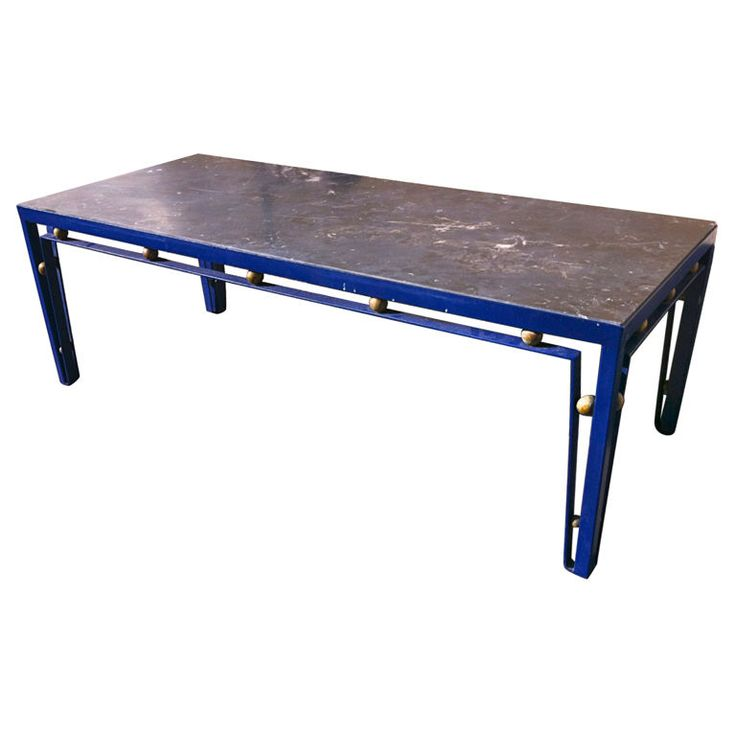 Jean Royere Extremely Rare Long Blue Cobalt Metal Coffee Table with a Black Marble Top and Gold Ball Details.