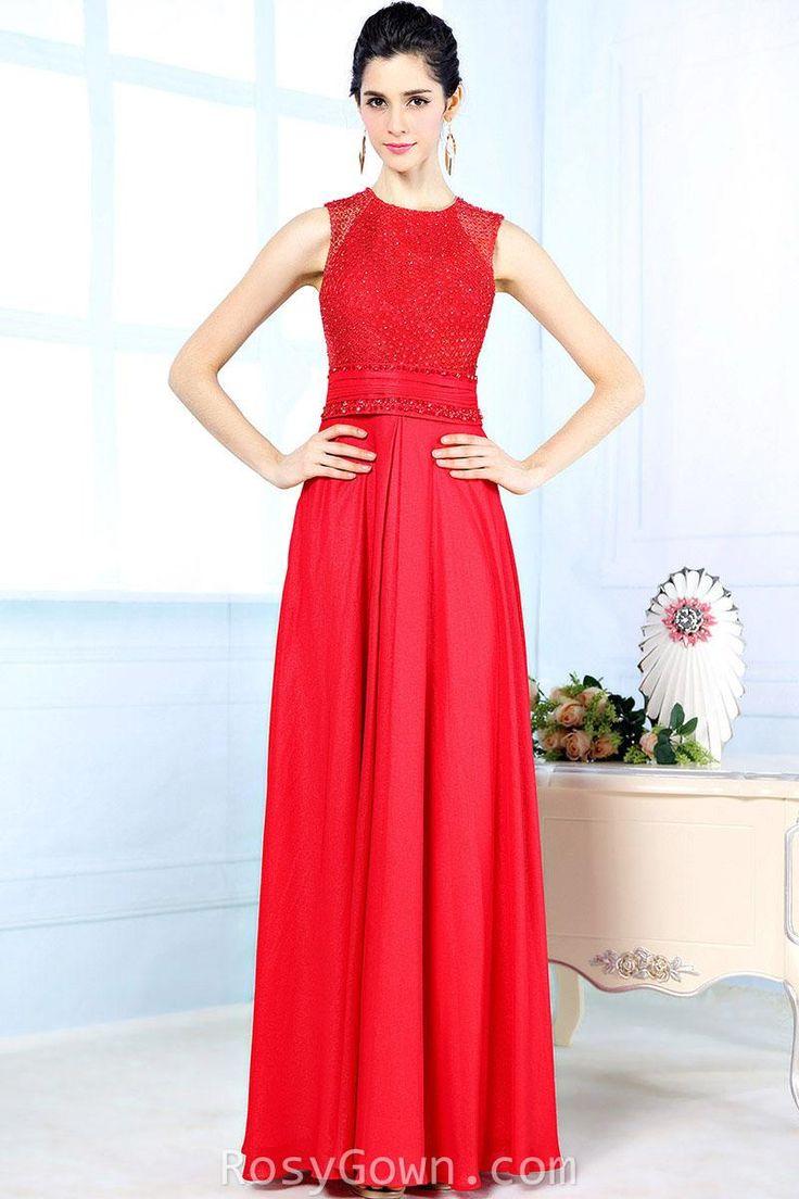 sleeveless high neck beaded #red long #evening formal #dress