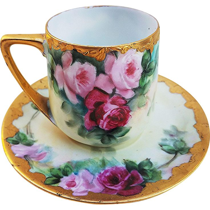 Antique Rosenthal Bavaria 1900's Vibrant 'Red & Pink Roses' with Gold Gilt Cup & Saucer Set - Hand painted porcelain floral teacup, demitasse cup, chocolate cup - Early (?) 20th Century China Cup & Saucer