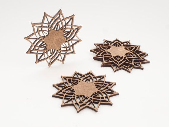 Wooden  Flower Pattern  Coasters  Set of 4 by BeamDesigns on Etsy