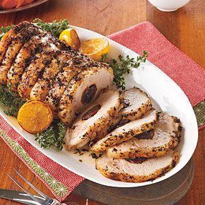 Prune-Stuffed Pork Loin Recipe. I think I would substitute cranberries.