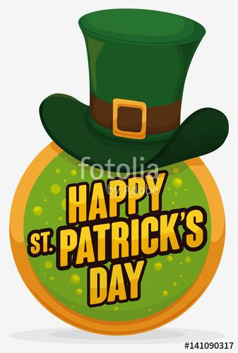 Round Button with Leprechaun's Hat for St. Patrick's Day Celebration