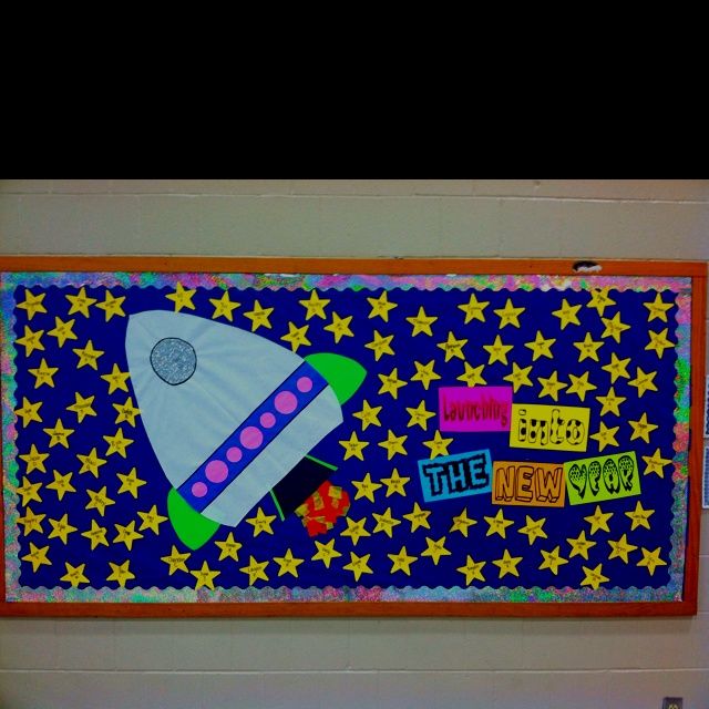 """Loving this for my January bulletin board, but will say """"Launching into a new year of reading goals!"""" w/ book # goals maybe on the stars."""