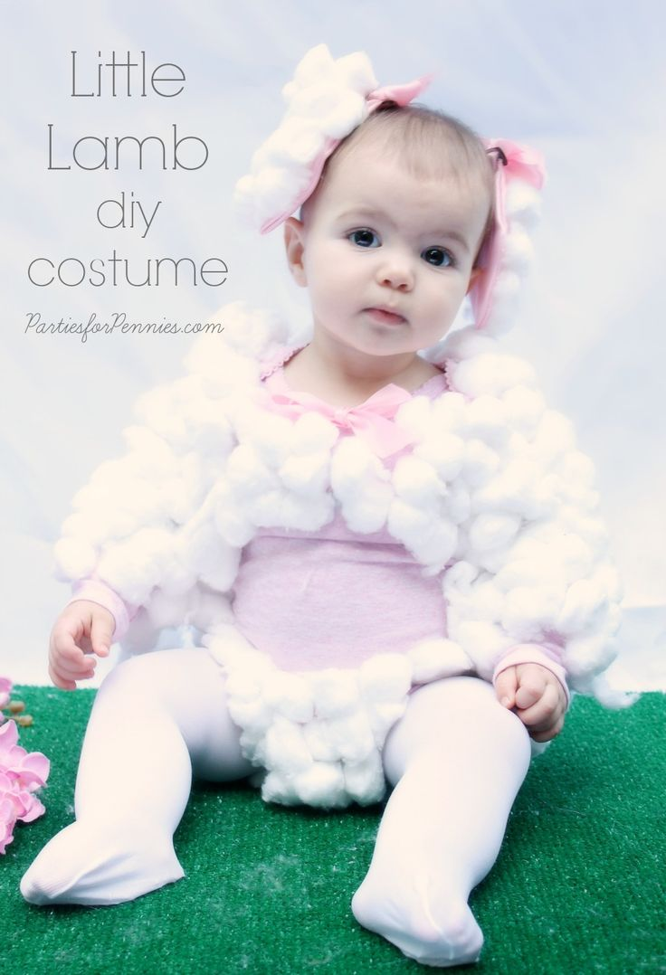DIY Baby Costume - Little Lamb by PartiesforPennies.com  #babycostume #diycostume #homemadecostume #cheapcostume