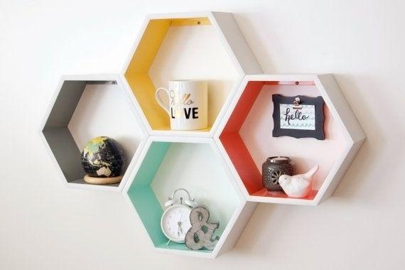 "4 Medium Honeycomb // Hexagon Shelves  Dimensions: 10"" x 11 5/8"" x 4"" deep  Material: • Cabinet Grade Birch Plywood - (Standard) • Other wood"