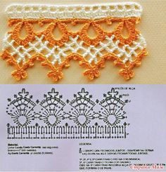 Elegant two color crochet edging with pattern