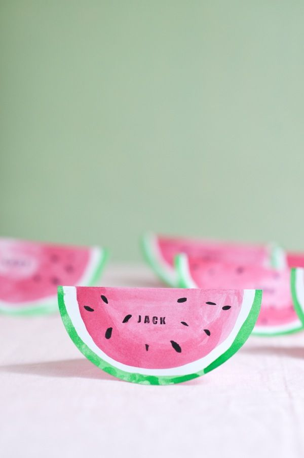 DIY Watermelon Place Cards Tutorial | Oh Happy Day!