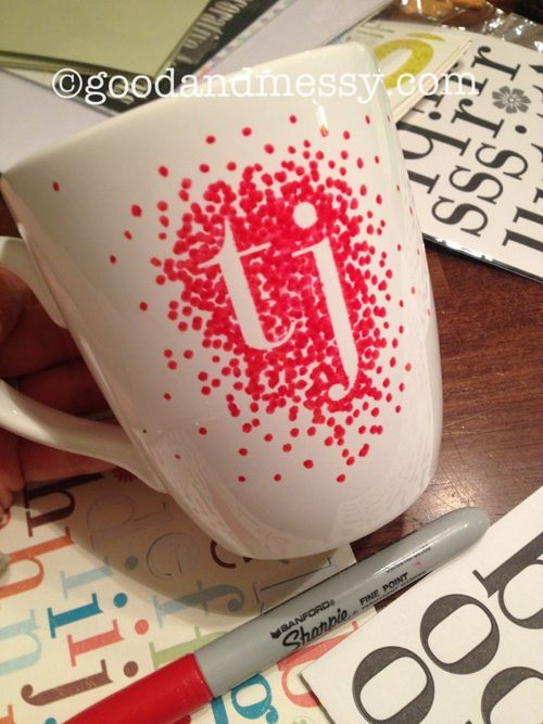 Just like the other sharpie mug projects but this one you put stickers down first, dot all over, then peel off the stickers before putting the mug in the oven...cute, easy gift!!