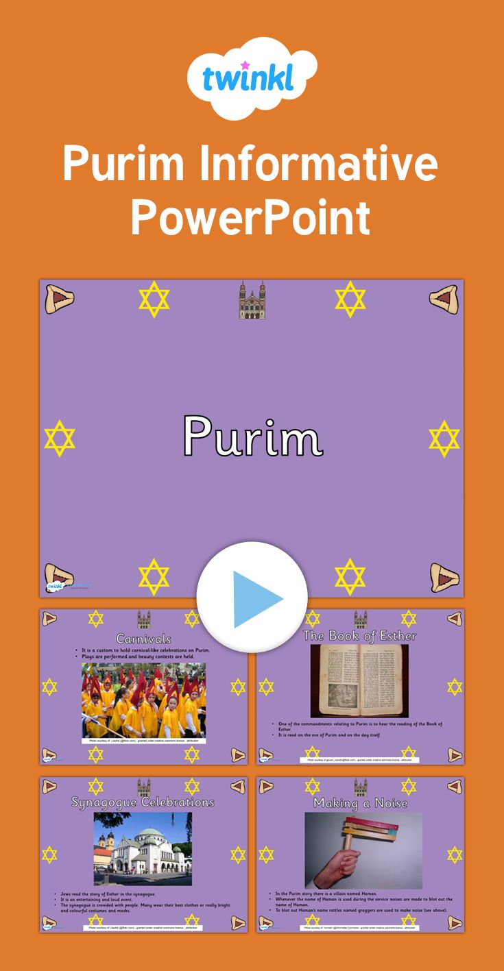 Purim Informative PowerPoint - Perfect for whole-class teaching, this  powerpoint features some handy
