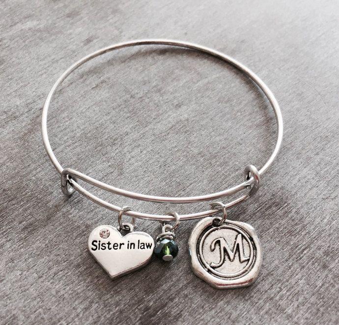 Sister in Law Jewelry, Silver Charm Bracelet ,Sister In Law, Sister In Law Gift, Adjustable, Expandable, Bangle Bracelet, Charm Bracelet by SAjolie, $19.45 USD