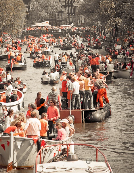 Koninginnedag (Queensday) celebrated on April 30th. After 2013 it will be celebrated on April 27th and it will be called Kingsday.