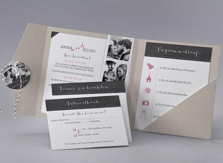 #Hochzeitskarte mit #Einlegekarten für #Standesamt, #Wegbeschreibung, #Antwortkarte und mehr #kreativehochzeitskarten #einladungskarten Emma M40-001
