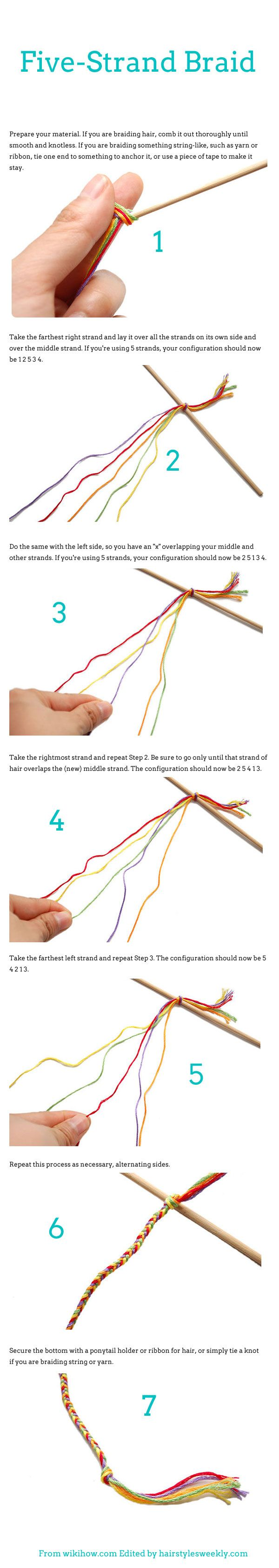 DIY: How To Braid Five Strand Braid Hairstyles - 5 Strand Braid bracelet