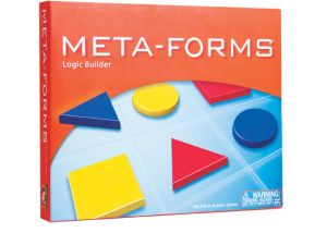 Meta-Forms includes a simple 3×3 grid as the playing board, with nine attribute blocks as the playing pieces.  At first, the directions make the game seem as if the puzzles are nothing more than merely looking at a clue and placing an attribute block on the appropriate square.  Very quickly, though, the clues get harder and there is nothing extremely easy about placing nine shapes on the board.