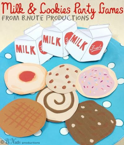 Milk and Cookies Party Games and Free Printable Game from B.Nute productions