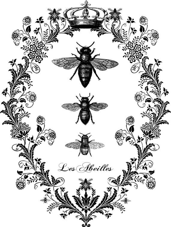 Vintage French Bees Flourish Digital Image Download - Digital Image Transfer for Pillows,T-Shirts, Tote Bags