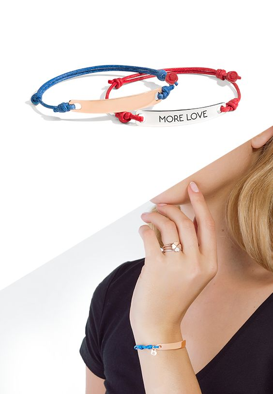 Spread More Love with Dodo tag bracelets in rose gold or silver, pair them with cords and create your own bracelet!