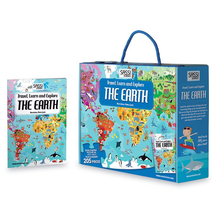 #Sassi Science: Travel, learn and explore - The Earth. A 205-pieces oval puzzle with  a 32-pages book. #eco #friendly #book #game