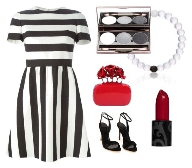 """Black and white"" by sch-csilla on Polyvore featuring Valentino, Alexander McQueen, red, stripes, Clutch and blackandwhite"