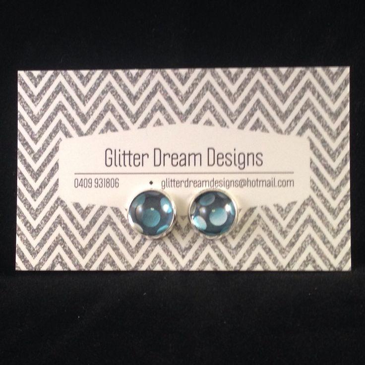 Order Code B14 Blue Cabochon Earrings
