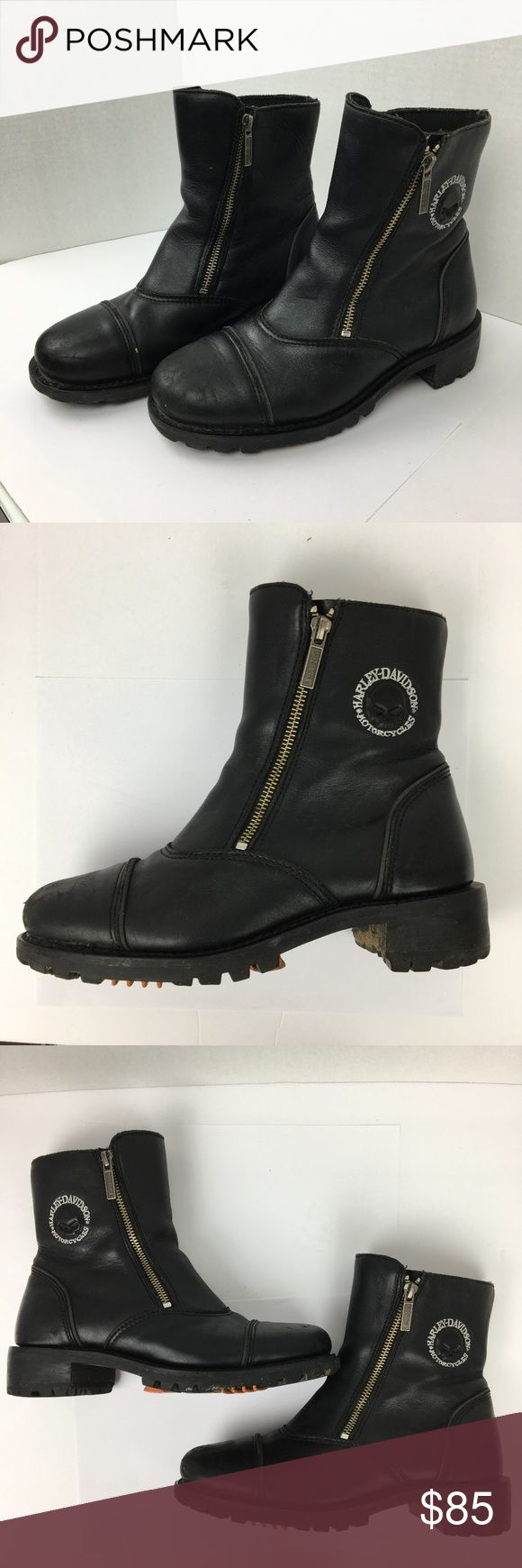 Harley Davidson womens size 8 ankle boots zipper motorcycle  moto Harley-Davidson womens size 8 ankle boots zipper zippered Skull and crossbones emblem embossed  very good condition black leather Harley-Davidson Shoes Combat & Moto Boots