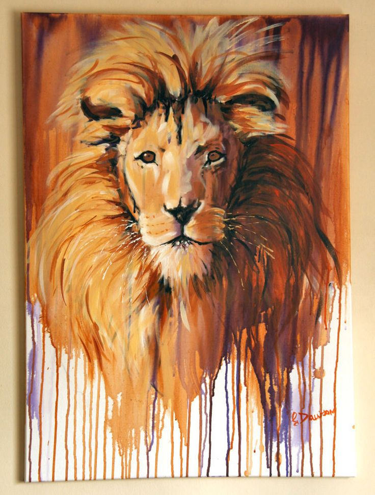 Lion  Turkana , original acrylic painting, animal painting by Geoff Dawson