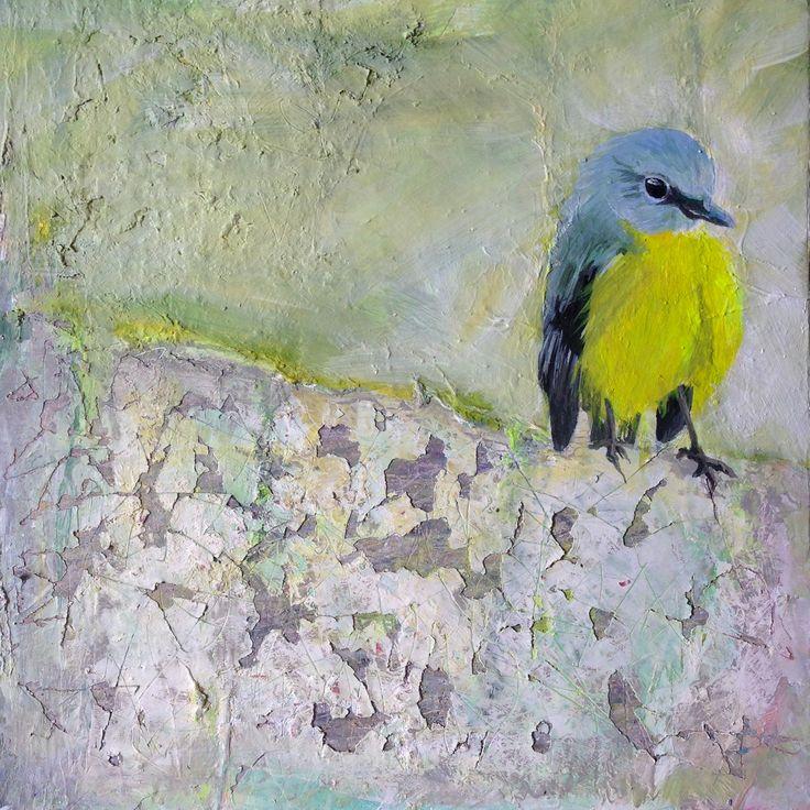 acryl painting on wood bird 3   20 x 20 cm 2016
