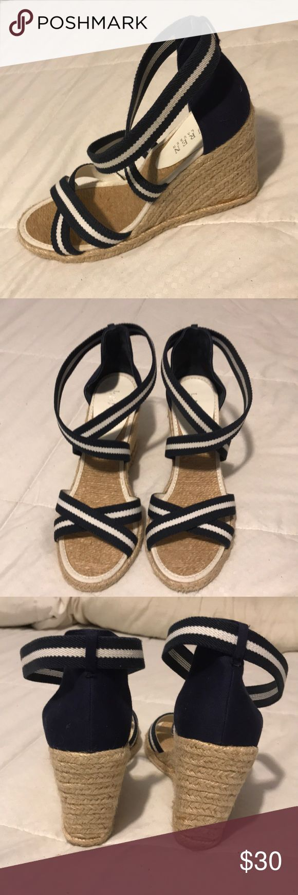 Ralph Lauren Navy White Fabric Wedge Shoes Gorgeous Lauren Ralph Lauren Navy White Elastic straps and fabric back espadrille Wedge. Ankle wrap. Lauren Ralph Lauren Shoes Wedges