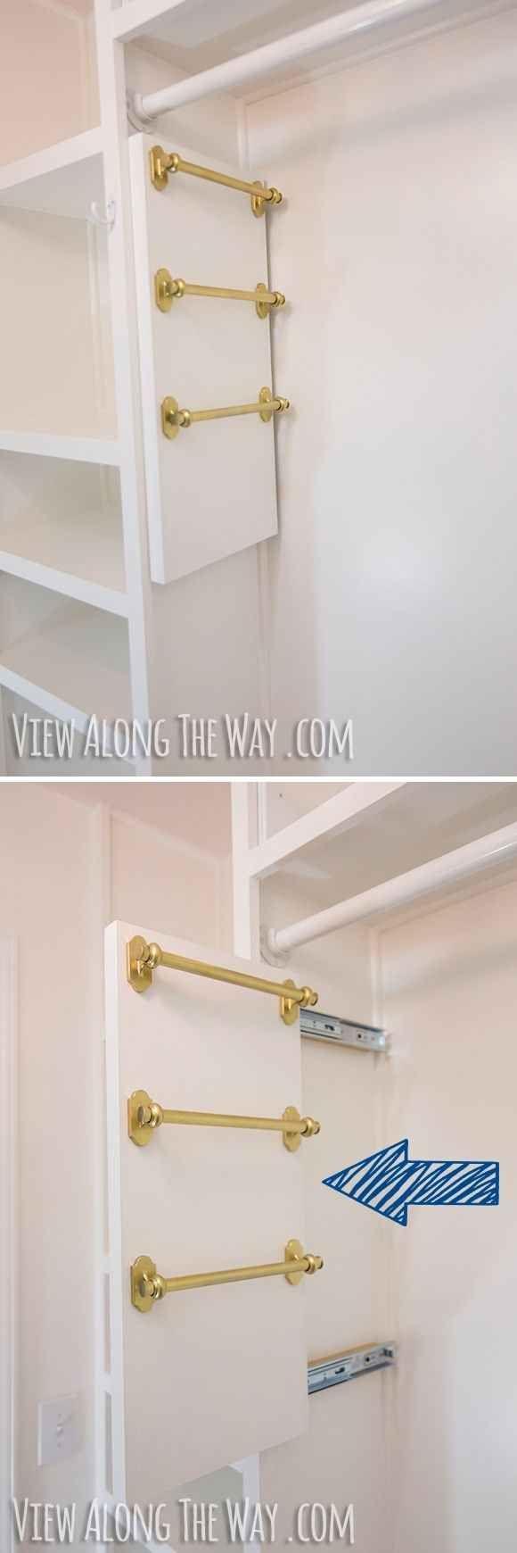 Maximiza el espacio en tu clóset al instalar tus propias barras deslizantes para colgar bufandas y cinturones: